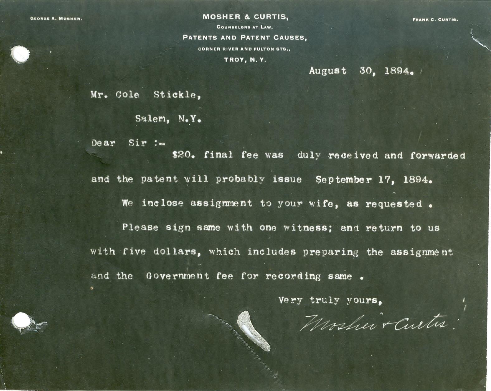 Stickle Steam original patent 1894